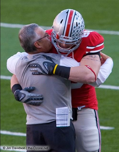 Jim Tressel honored between 1st and 2nd quarters at the OSU/Michigan game!  Poignant moment!:-)