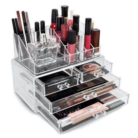 Sorbus Luxury Acrylic Cosmetic Makeup Organizer Case Storage Insert Holder Box, Clear