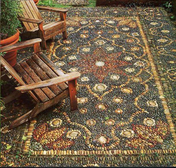 Enchanted carpet ~ pebble mosaic by Jeffrey Bale