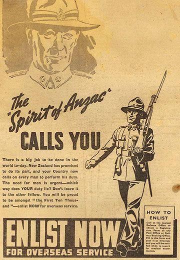 World War I-era recruitment poster for Australian and New Zealand Army Corps (ANZAC).