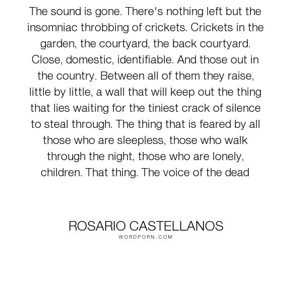"""Rosario Castellanos - """"The sound is gone. There's nothing left but the insomniac throbbing of crickets...."""". death, silence"""