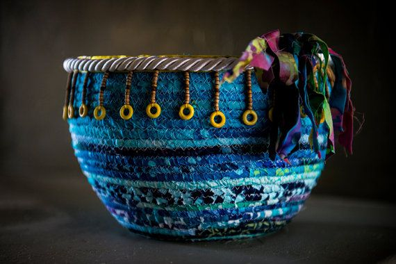 Decorative fabric coiled bowls. Customizable by TheCraftingDuo, $25.00