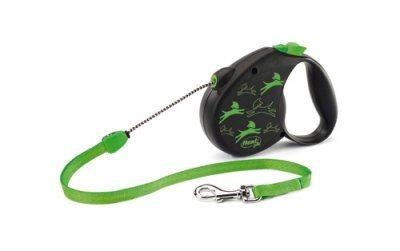 Flexi color grønt hundebånd. Medium Et meget pent hundebånd for hunder opp til 20 kg. Meget pent bånd i kjent flexi kvalitet. Grønn på sort bakgrunn, og grønt på selve båndet.Se forøvrig bilde. Farge: Grønn på sort.Maks vekt på hund 20 kgLengde bånd: 5 meter