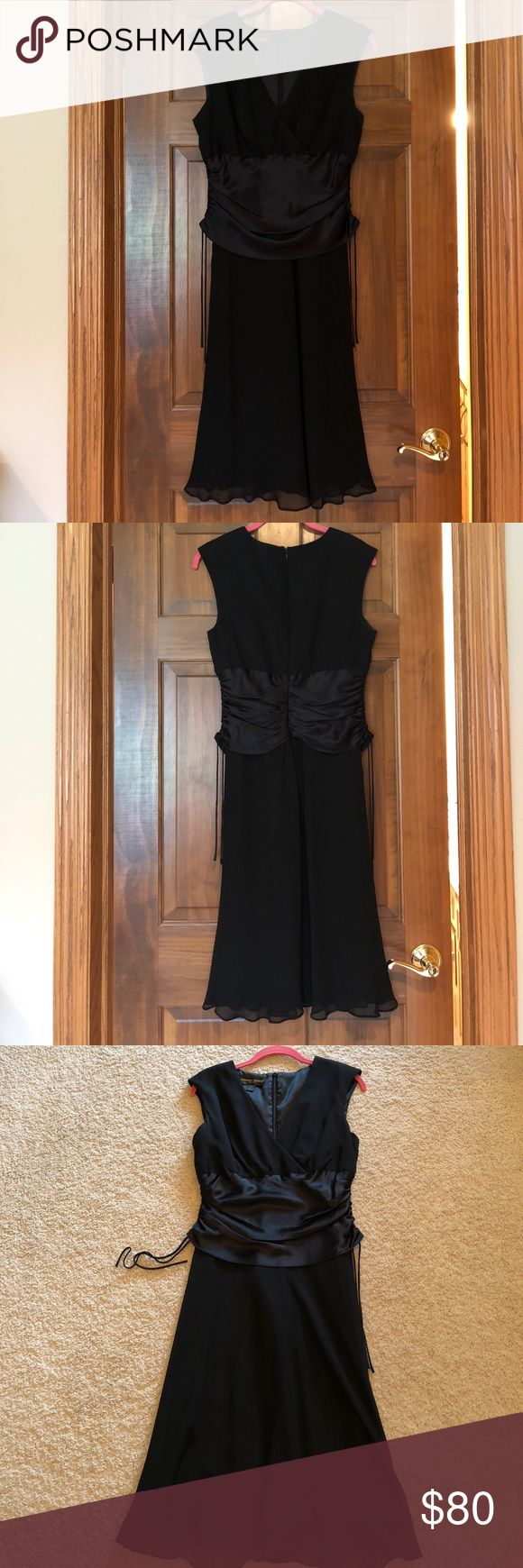 Donna Ricco black dress This Donna Ricco Little Black dress is perfect for any occasion. It is a size 8 and has a zipper closure on back. There is satin detail at the middle of the dress that can be ruched and then tied at the sides. The under layer is black  and has a black layer over it. Donna Ricco Dresses