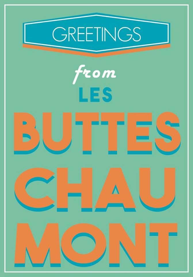 carte postale quartiers Paris postal card Buttes Chaumont