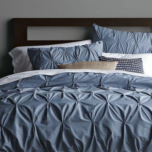 Organic Cotton Pintuck Duvet Cover + Shams - Steel Blue | west elm... ON SALE!