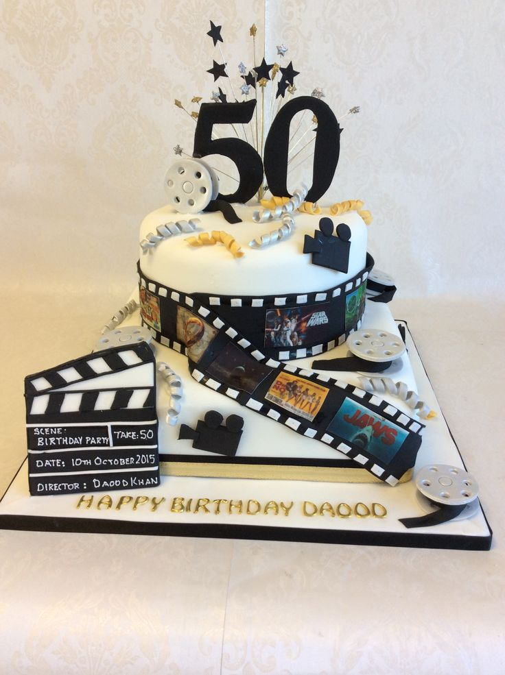 2 Tier Black And Gold Hollywood Theme Birthday Cake