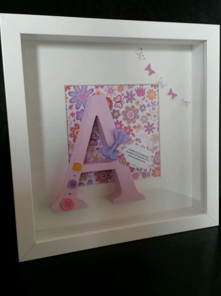 Personalised Baby Gift/Christening/Nursery, Letter Art Box Frame