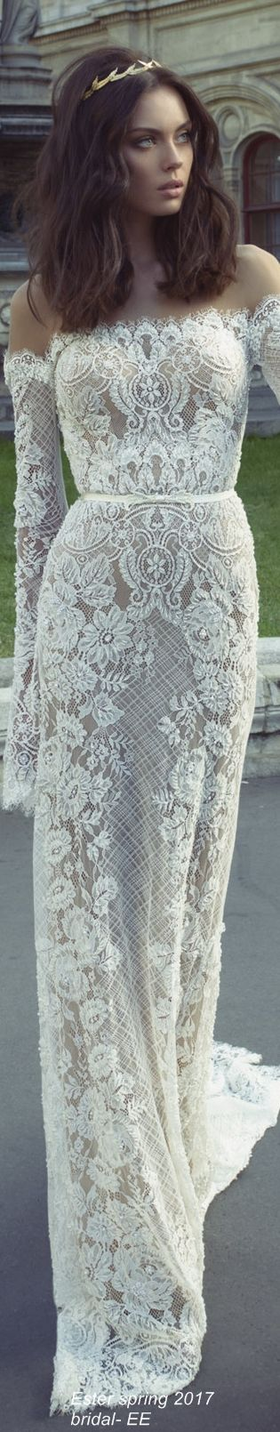 Gorgeous lace wedding gown.