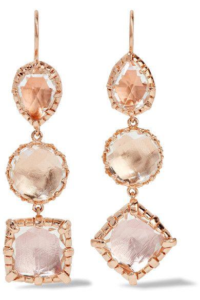 Larkspur & Hawk - Sadie Rose Gold-dipped Quartz Earrings - one size