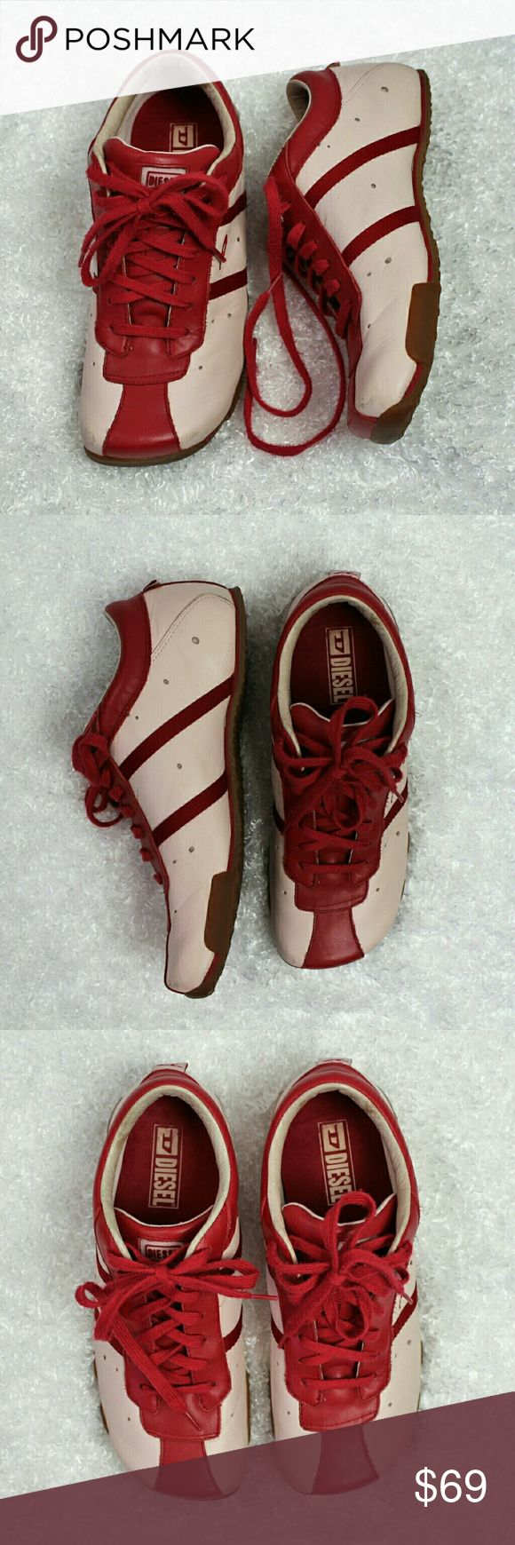 Diesel Evelyn Red  & Pink Sneakers Red and light pink leather sneakers . Have some wear shown in last pic. Size 9 Diesel Shoes Sneakers