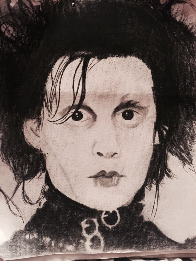 Charcoal, pen- Edward scissor hands