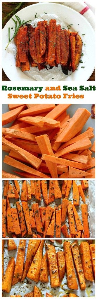 Extra Crispy Rosemary and Sea Salt Sweet Potato Fries - Baked, not fried! So easy to make!!! #vegan #glutenfree