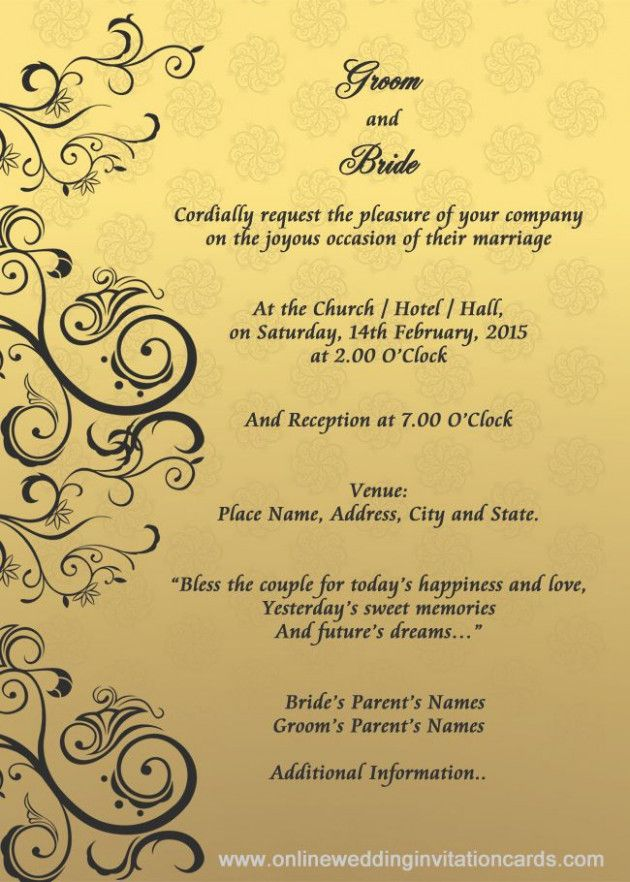 Sample Wedding Invitation Card With Images Wedding Invitation