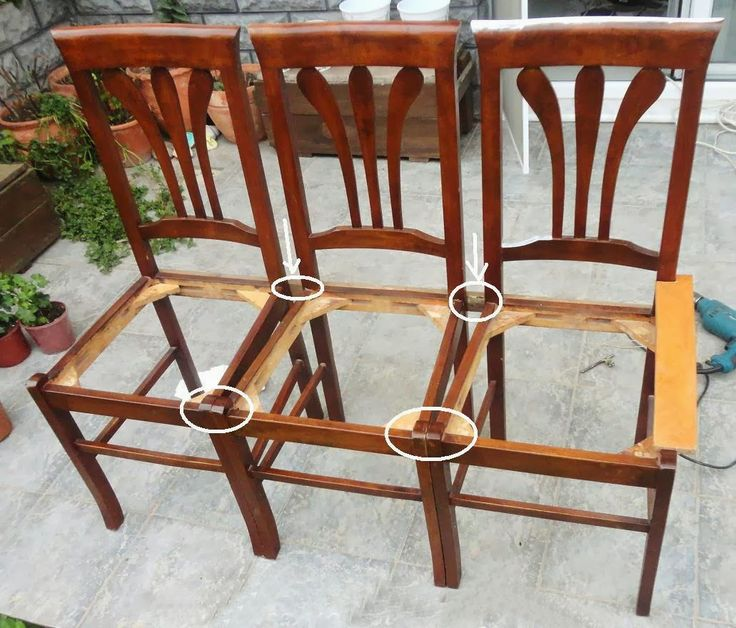 benches made out of chairs | drill holes in the marked locations on and off before the long screws ...