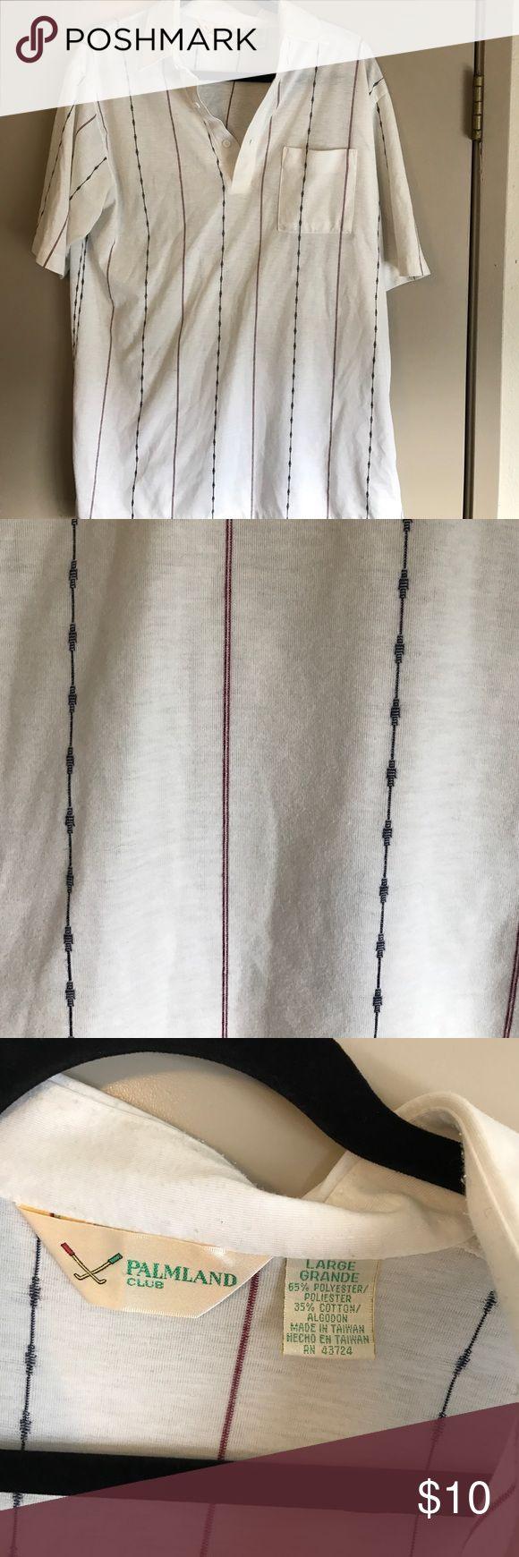 White striped golf shirt White golf shirt with blue and red strips palmland club Shirts Polos
