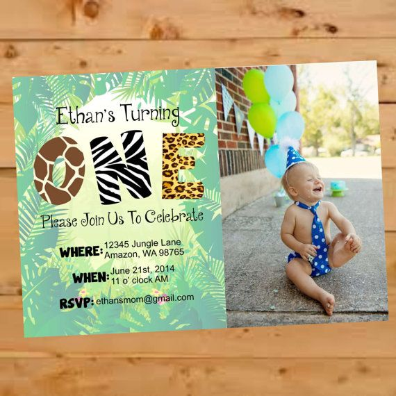 890 best Jungle animal cake \ party ideas images on Pinterest - fresh invitation card for first birthday of baby girl