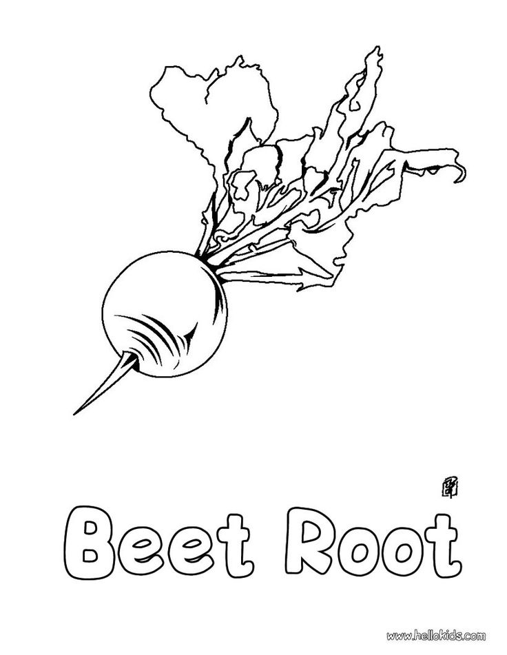 Enjoy coloring this Beet root coloring page for free