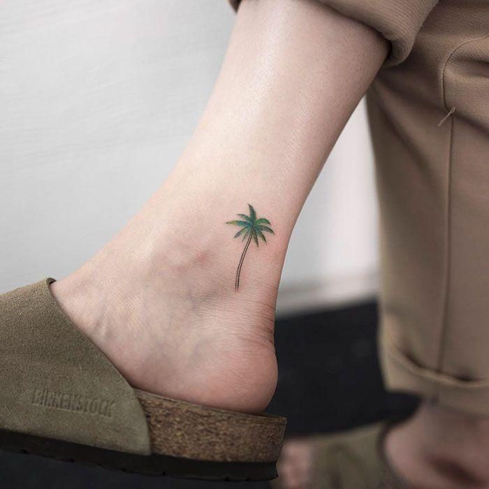 Subtiel Tattoos Kleur Palmboom Femfem Tattoos Tatoeage