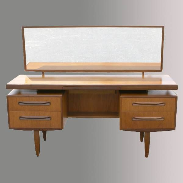 Superb Vintage Wood Dressing Table With Mirror  Metro Reto Furniture   Mid Century  Modern Furniture