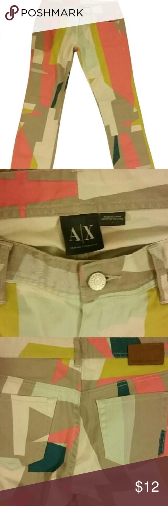 Armani exchange abstract jeans So amazing with two pocket in front and two on the back . Skinny jeans which brings all attention to you the buttons are emblems with Armani exchange and the leather Armani exchange on the back . Take advantage of my closing closet on 7 th and give me offer on the still very low price . A/X Armani Exchange Jeans Skinny