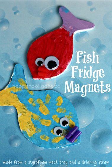 fish fridge magnets - happy hooligans - styrofoam tray and a straw