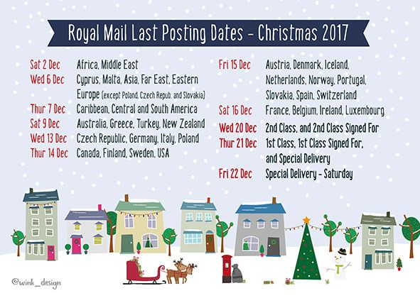 Free Printable Poster - Royal Mail Xmas Posting Dates 2017 - Wink Design