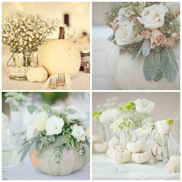white wedding pumpkins (top left) love that look for outside ceremony