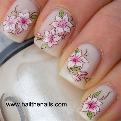 Pink & white lily's water nail transfers by Hailthenail - Nail Art Gallery nailartgallery.nailsmag.com by Nails Magazine www.nailsmag.com #nailart