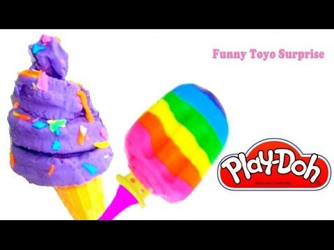 DIY Ice Cream Rainbow Colors Play-Doh Crème Glacée HeladosArcoiris 冰淇淋 彩虹的颜色 Video FunnyToyoSurprise