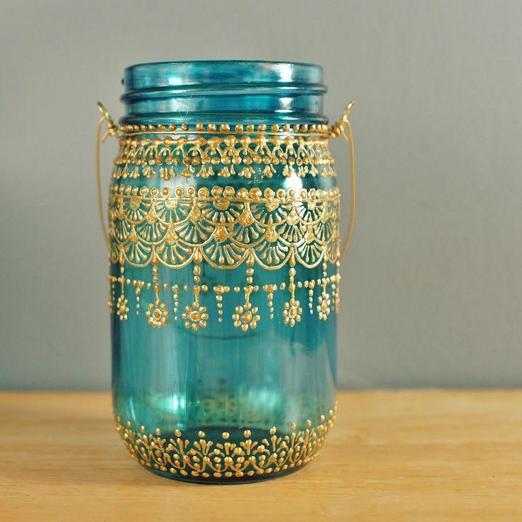 Moroccan Designed Mason Jar Lantern, Teal Glass with Gold Detailing. $24.00, via Etsy.