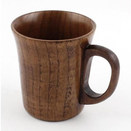 """Wooden Handgrip Home Water Tea Milk Coffee Beer Drinking Mug Cup Brown 4"""" Height"""