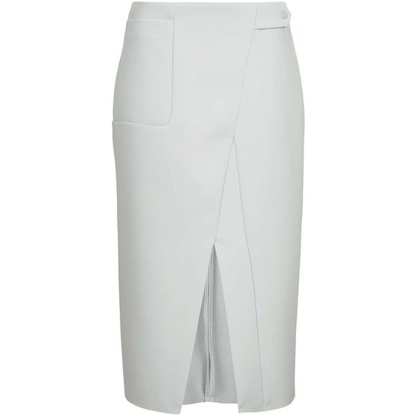 TOPSHOP Premium Utility Midi Skirt (68 BRL) ❤ liked on Polyvore featuring skirts, topshop, bottoms, duck egg, zipper skirt, pocket skirt, asymmetrical skirt, mid calf skirts and calf length skirts