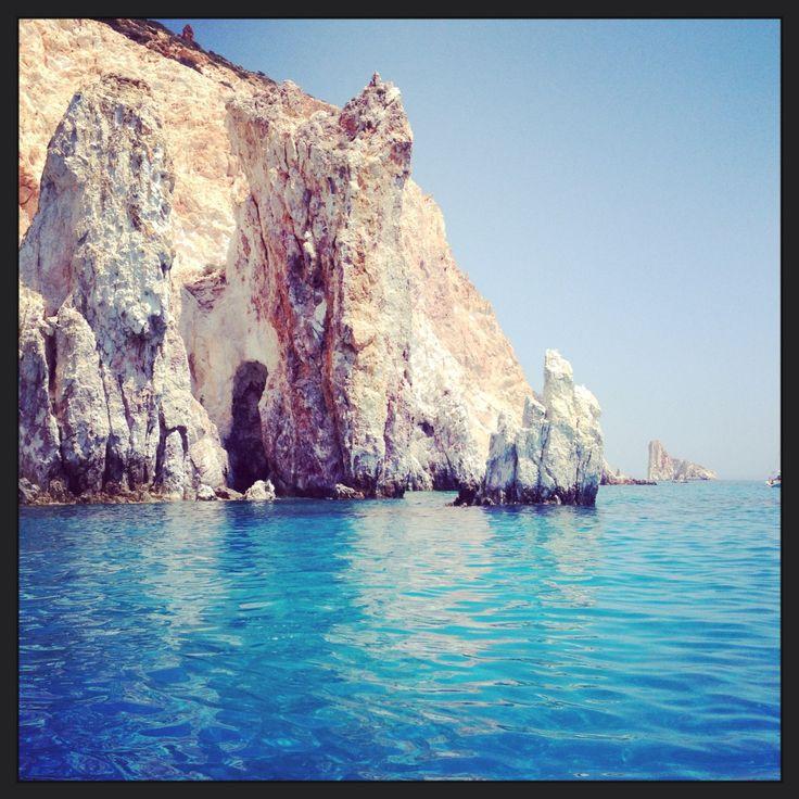 Polyaigos island by boat