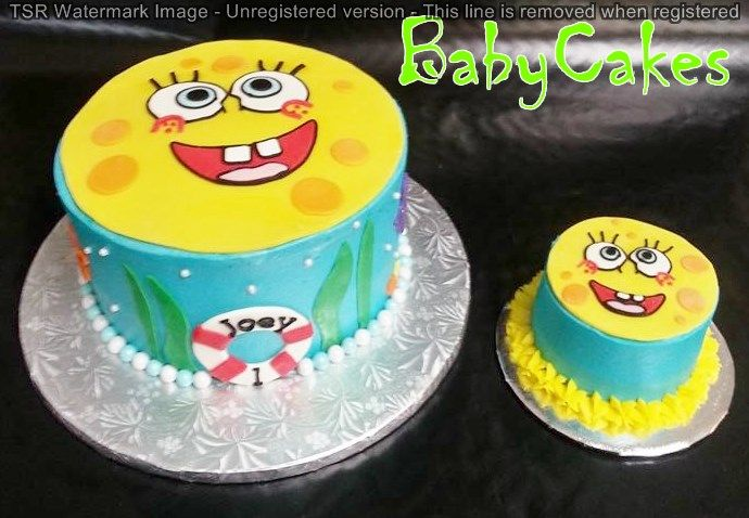 Spongebob Birthday Cake with matching smash cake