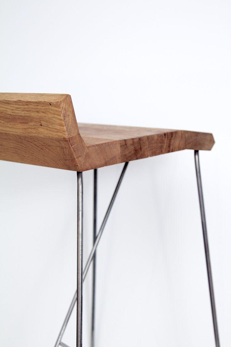 Tabouret de bar Eckig, en métal et bois