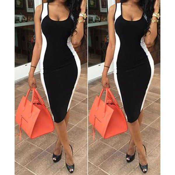 $10.11 Sexy U-Neck Sleeveless Color Block Bodycon Women's Dress