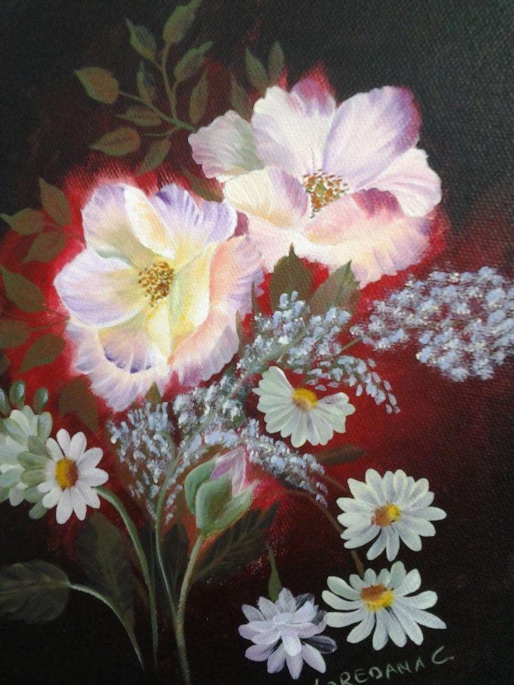 Rose selvatiche su tela in acrilico