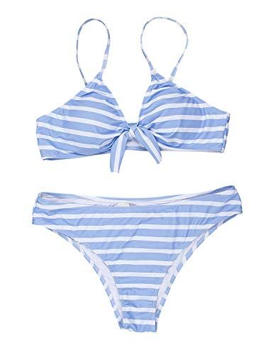 68e69de26 Blooming Jelly Womens Tie Knot Two Piece Swimsuits Striped Triangle Cheeky Bikini  Set Bathing Suit