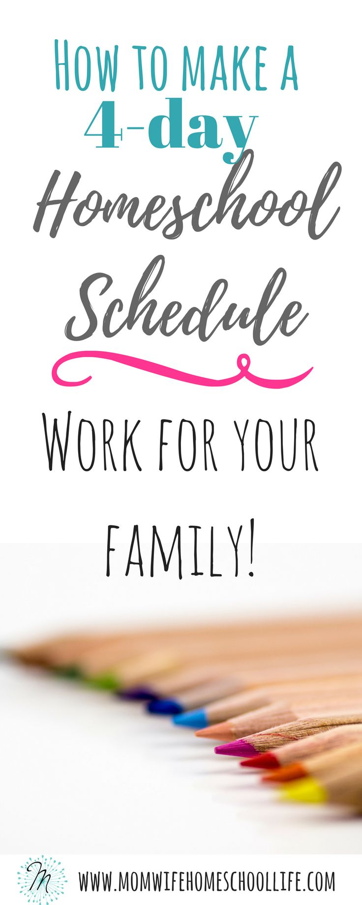 How to make a 4-day homeschool schedule possible for your homeschool. The benefits of homeschooling 4-days, and an example of a 4-day schedule!!