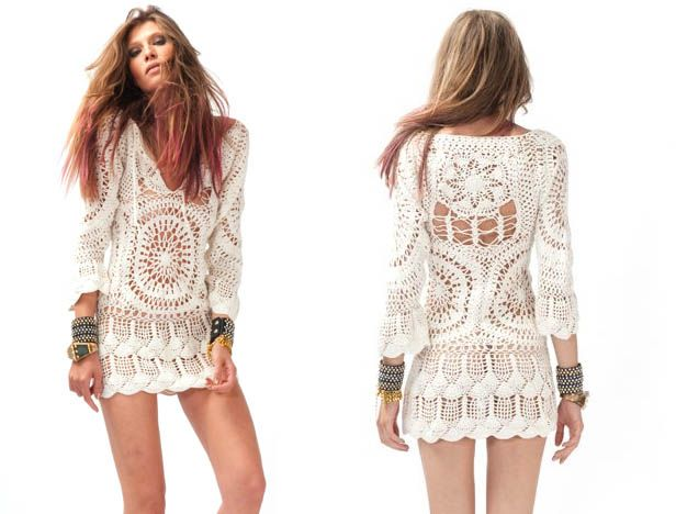 -Another beautiful crocheted white dress .