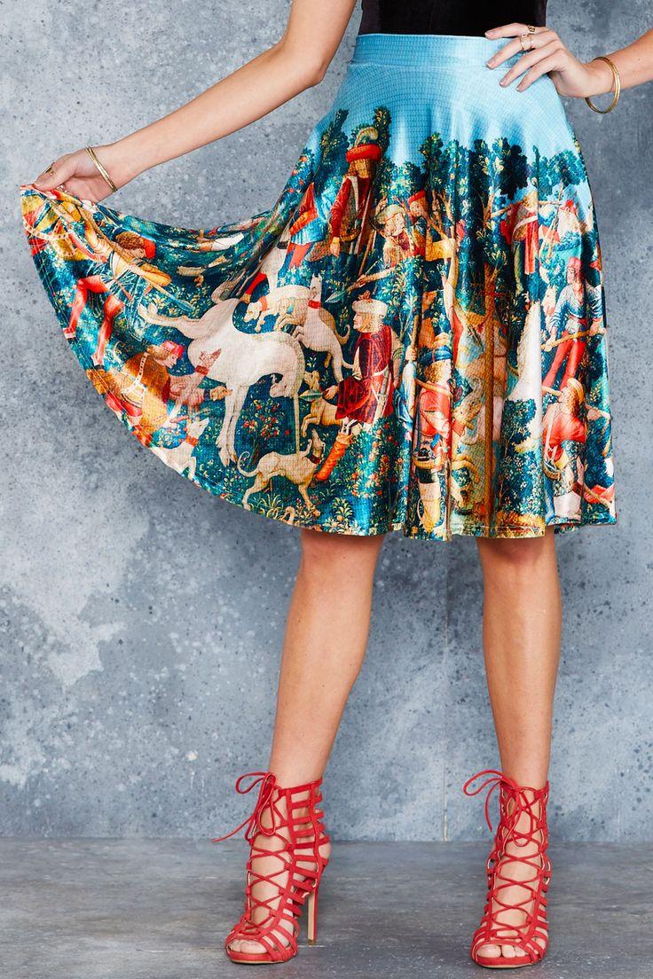 Unicorn Hunt Velvet Midi Skirt - 48HR ($110AUD) by BlackMilk Clothing
