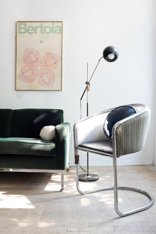 Cantilevered chrome furniture is equal parts industrial style and cool vintage texture. These sleek designs work well with a nice range of design styles.