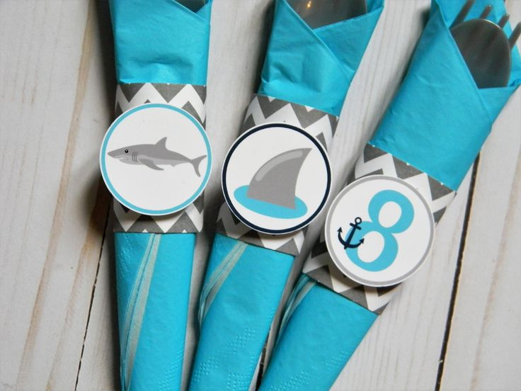 Shark Napkin Rings, Shark Party Napkin Rings, Shark Party Decorations, Shark Party Supplies, Shark Birthday Party, Sharks Party, Set of 12 by sweetheartpartyshop on Etsy https://www.etsy.com/listing/553951627/shark-napkin-rings-shark-party-napkin