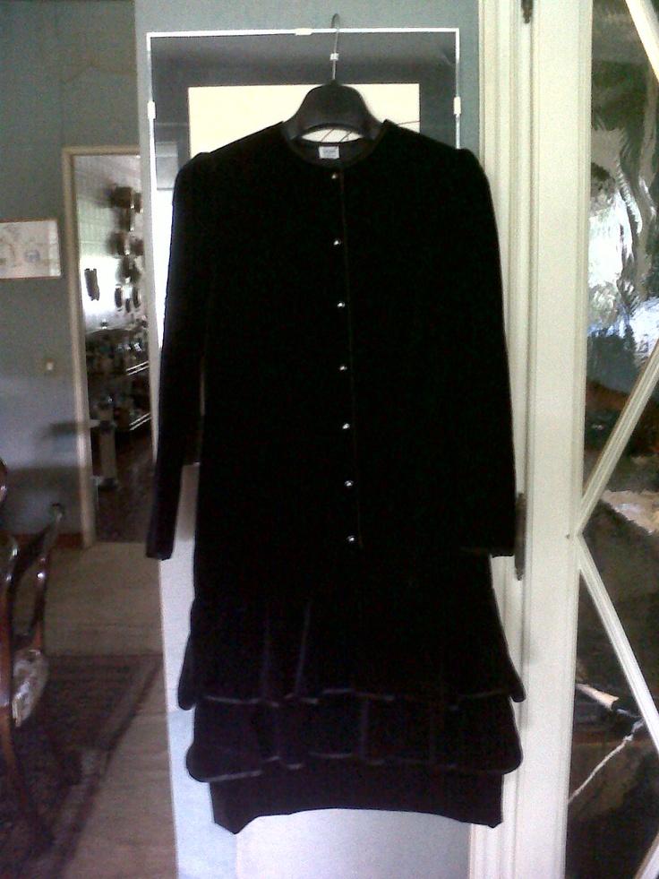Velvet black dress with frills (not available)
