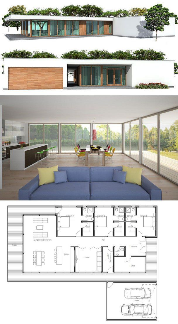 Modern Architecture, House Plan from ConceptHome.com, floor plan. Appears to be around 1956 sq ft. So much natural light!