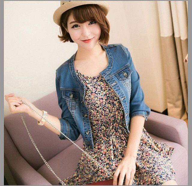 New 2016 Ladies Denim Jackets Outwear Jeans Coat Classical Jackets Women Fashion Jeans Coats Rivets Female Jackets