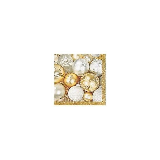 Kerstbal servetten goud 20 stuks  Gouden kerst servetten met kerstballen. Kerst servetten met een afbeelding van diverse kerstballen. Formaat: 33 x 33 cm. Inhoud: 20 stuks. Papieren 3-laags kerst servetten.  EUR 3.50  Meer informatie