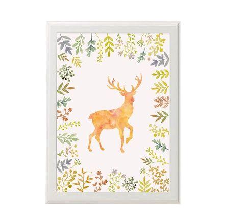 Falikép, Dekoráció, Babaszoba falikép, print, grafika szett- virágok, állatok; medve, szarvas, róka - 3db A4-es (kkreabeaa) - Meska.hu