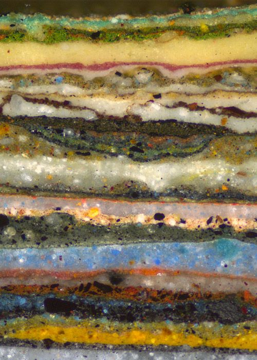 Natasha K. Loeblich of the Architectural Research Department of the Colonial Williamsburg Foundation photographed a cross-section of the dozens of layers of wall paints on an 18th-century theater at 100 times magnification.